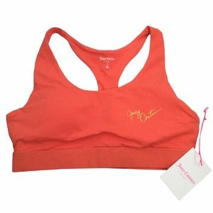 NWT Juicy Couture Hot Coral Sports Bra Size Large